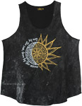 Stonewashed Black True Hippie Sun Moon Tank Top