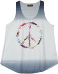 Feathered Peace Sign Graphic Hippie Tank Top
