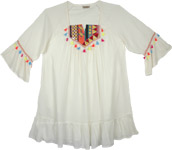 White Tunic Top with Embroidery and Boho Tassels