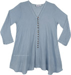 Shark Gray Crinkled Cotton Summer Tunic Top