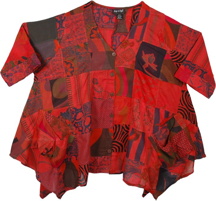Crimson Red Women Casual Cotton Patchwork Shirt XXL