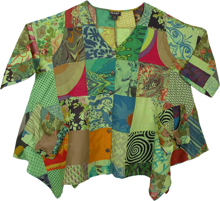 Raw Olive Mixed Patchwork Loose Fit Boho Tunic Top
