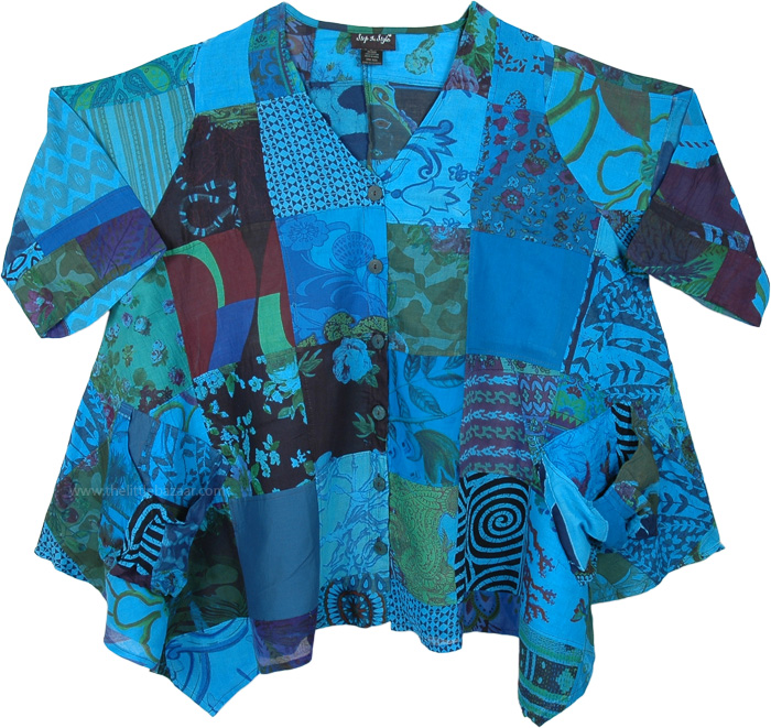 Cerulean Blue Two Pocket Patch Vacation Shirt Cotton XXL
