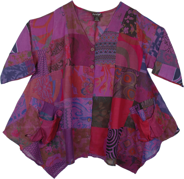 XXL Boho Tunic Top with Pockets Purple Cotton Patchwork