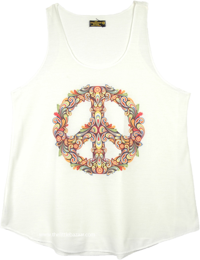 Floral Peace Sign Graphic Hippie Tank Top