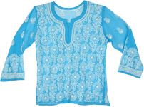 Size Small Turquoise Tunic Sheer Shirt with White Embroidery
