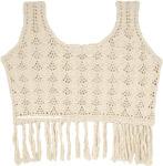 Beige Bohemian Sleeveless Crochet Top with Tassels
