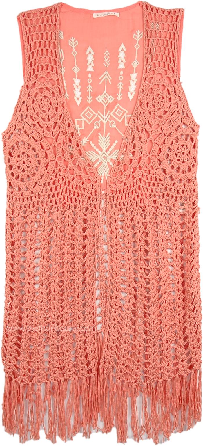 Kashmir Blue Fringe Crochet Long Sleeveless Vest | Tunic-Shirt ...