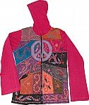 Flushed Maroon Peace Sign Fall Jacket Top