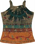 Tie Dye Tank Top With Embroidery