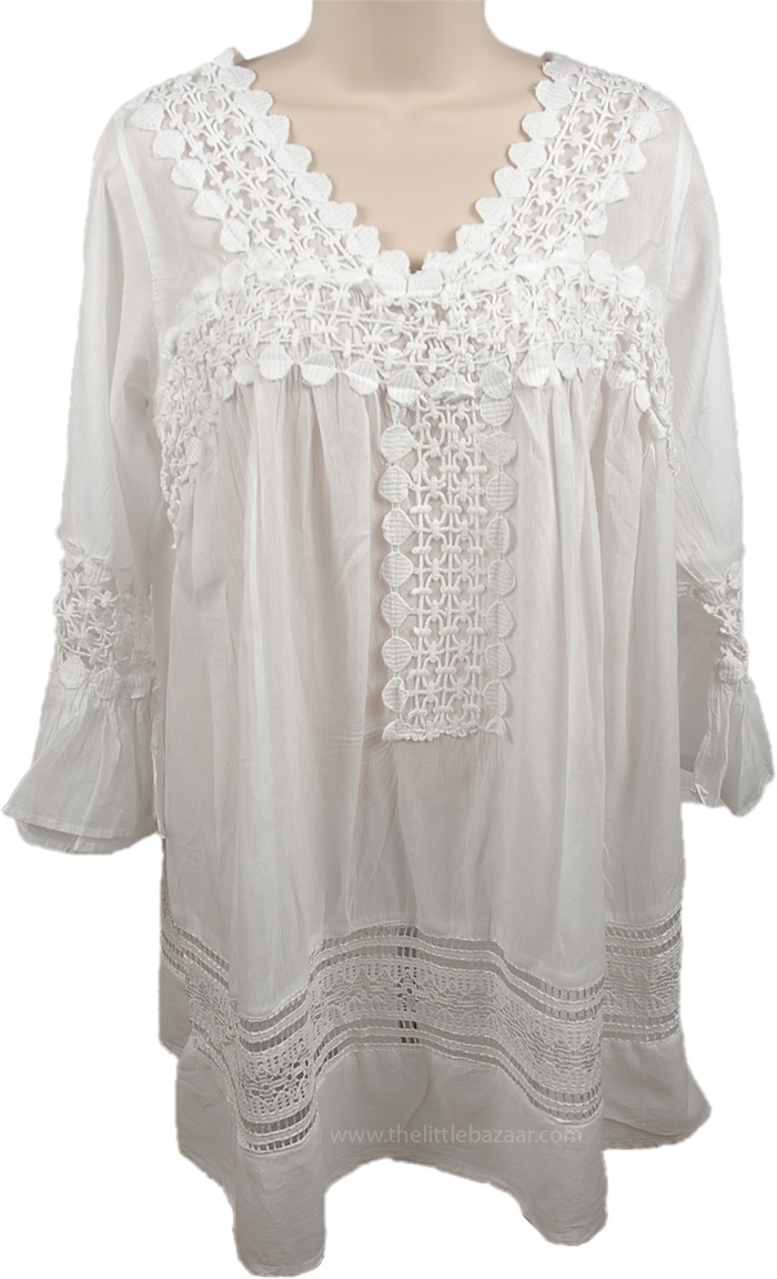 White Summer Bohemian Tunic