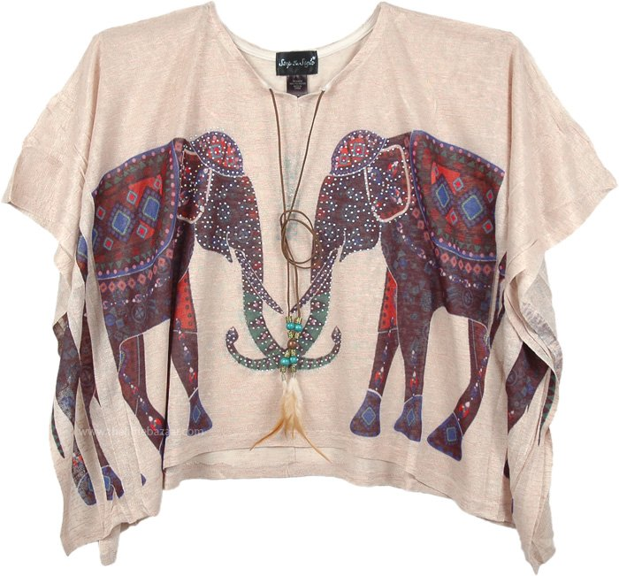 Indian Elephant Pattern Poncho Top