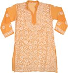 Princeton Orange Embroidered Sheer Tunic