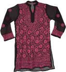 Sheer Black Tunic Top with Cadillac Pink Embroidery