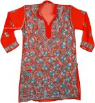 Scarlet Chikan Georgette Tunic For Women