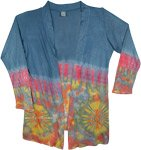 Prussian Blue Boho Tie Dye Open Front Long Shrug