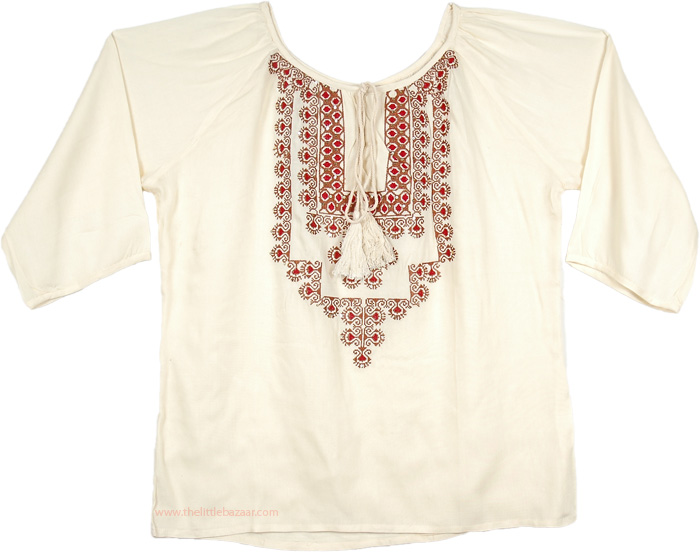 Pearly Embroidered Womens Tunic Top