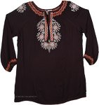 Onyx Full Sleeve Floral Embroidered Tunic