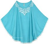 Dolman Sleeve Poncho Top in Aquamarine