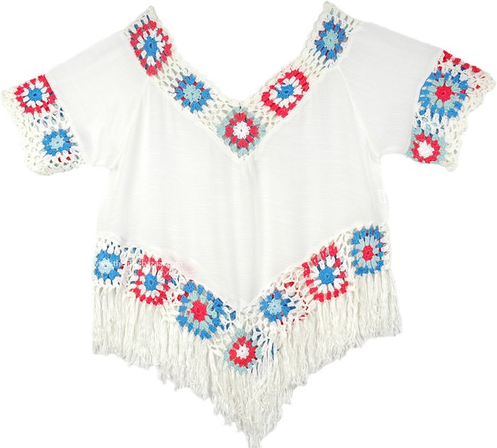 White Crop Top with Crochet and Fringe
