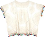 Embroidered Lace Biege Top with Boho Tassels