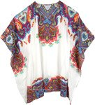 Folky Flowers Designer Poncho in White