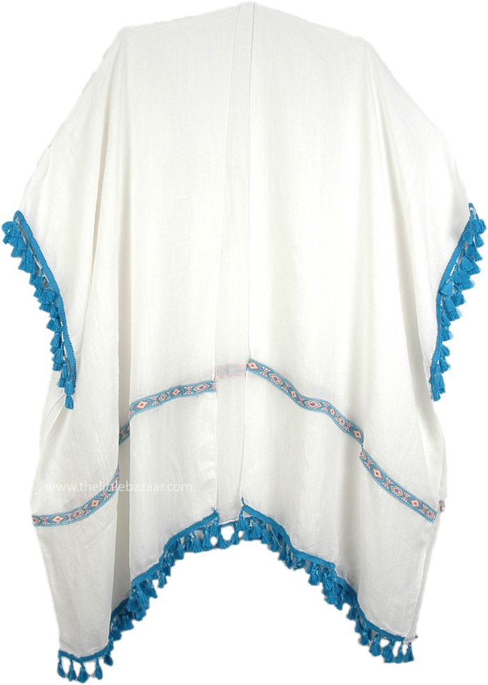 Open Front White Statement Drape Top