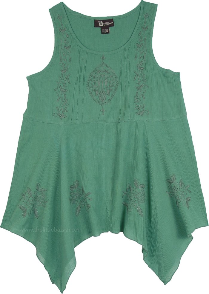 Solid Sleeveless Embroidery Shark Bite Hem Summer Top