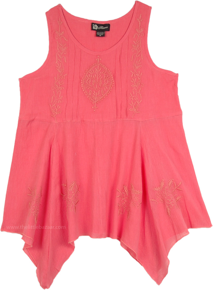 Carnation Sleeveless Embroidery Shark Bite Hem Summer Top