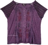 Purple Medieval Style Short Top with Embroidery