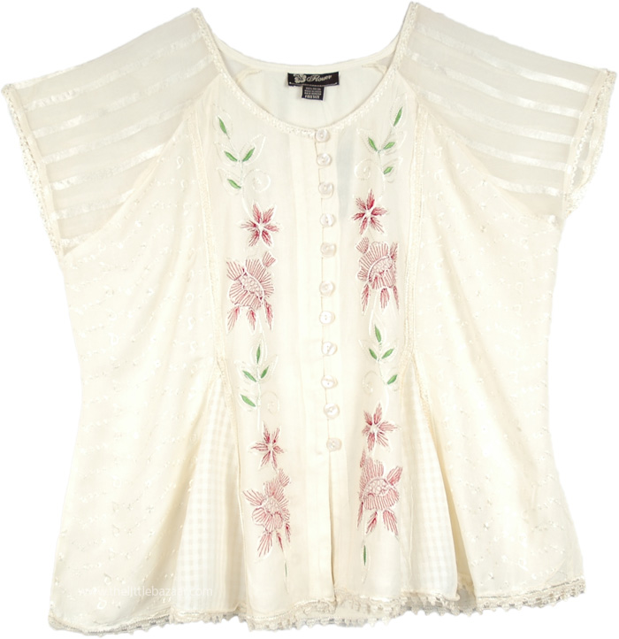Alabaster Amour Embroidered Short Top