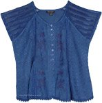 Decorous Fine Embroidery Blue Short Top