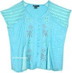 Sky Blue Medieval Style Short Top with Embroidery