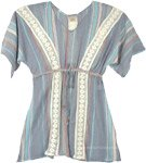 Cotton Voile Beach Short Kaftan Top with Tie-Up Waist