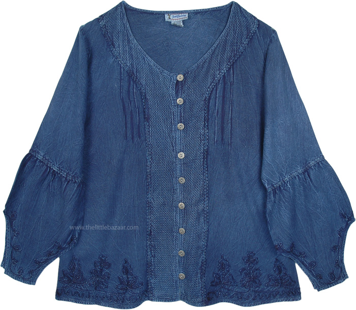 Blue Denim Medieval Western Shirt Top with Embroidery