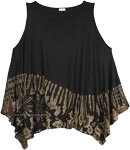 Black Beige Tie Dye Boho Summer Sleeveless Top