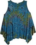 Chathams Blue Tie Dye Asymmetrical Hem Top