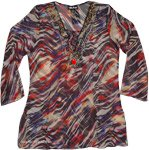 Sheer Tunic Top with Abstract Waves and Boho Neckline
