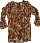Animal Print Semi Sheer Tunic Top with Beadwork On Neck