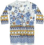 Greek Vacation Printed Cotton Tunic Top