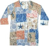 Beach Blue Printed Cotton Tunic Top for Summer