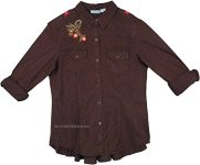 Black Brown Button Down Boho Fall Shirt with Floral Embroidery