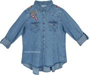 Denim Blue Western Chic Vintage Look Shirt with Embroidery