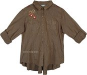 Vintage Olive Western Embroidered Button Down Shirt