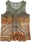 Printed Tank Mesh Embroidery Sleeveless Fashion Top