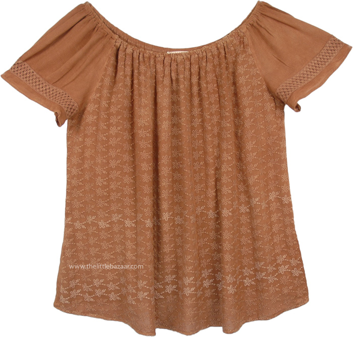 Tawny Brown Embroidered Flowers Gypsy XL Top