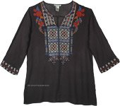 Boho Tunic Top in Black with Multicolored Embroidery