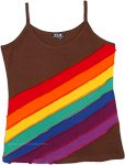 Choco Brown Hippie Tank Top with Rainbow Stripes