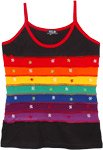 Black Hippie Tank Top with Rainbow Stripes and Embroidery