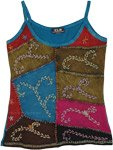 Teal Embroidered Patchwork Boho Tank Top in Cotton